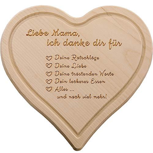 Mc trend bellissimo tagliere in legno a forma di cuore per la colazione mama - papa - oma - opa - festa della mamma mama ich danke dir