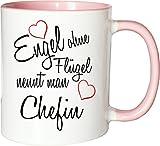 Mister Merchandise Becher Tasse Engel Ohne Flügel Nennt Man Chefin Kaffee Kaffeetasse liebevoll Bedruckt Beruf Job Geschenk Weiß-Rosa