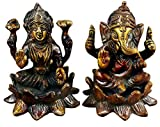 "Idol Collections Indian God - Ganesha and Goddess Lakshmi Painted Figurine Set - Handmade Brass Statue - 3.1"" x 2.5"" x 2.5"""
