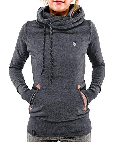 StyleDome Damen Hoodies Pullover Langarm Jacke Top Sweatshirt Laple Knopf Jumper Grau 52 (52)