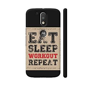 Colorpur Eat Sleep Workout Repeat Printed Back Case Cover for Moto G4 Plus Logo Cut