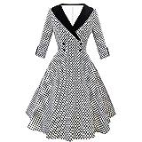 Hepburn-Stil Retro-Kleid große Schaukel Hauchrock Punktdruck modische Ärmel V-Neck-Tanz Kleid Schaukel Kleid URIBAKY