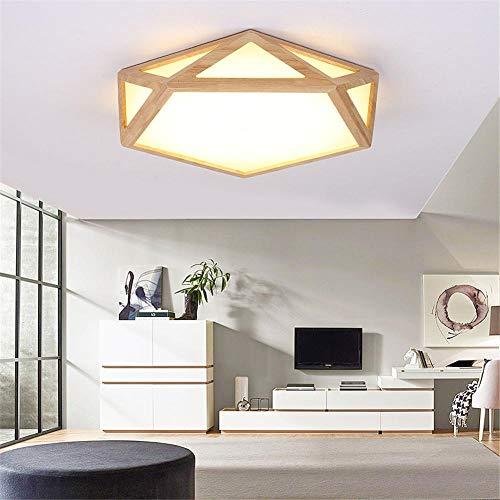 Led Studie Schlafzimmer Lampe 42cm geometrische Holz Massivholz Lampen weich und nicht blendfrei leicht zu reinigen, stufenlose Verdunkelung alle hohl -