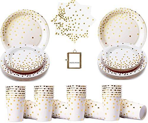 Foil Party Tableware Artículos de Fiesta Blancos y Dorados Juego de vajilla desechable de Papel de Oro Rosa Blanco Vajilla de Papel con Puntos Dorados: Sirve para 16 Invitados