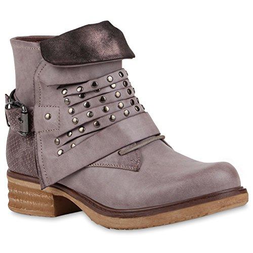 Damen Biker Boots Nieten Lederoptik Stiefeletten Schnallen Grau