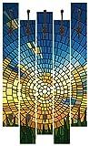 Artland Qualitätsmöbel I Garderobe mit Motiv 5 Holz-Paneele mit Haken 68 x 114 cm Landschaften Sonnenaufgang -untergang Digitale Kunst Blau F1ZK Sonnenuntergang auf Blauem Himmel im Gras