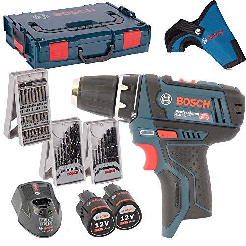 Preisvergleich Produktbild Bosch Akkuschrauber GSR 10,8-2-Li + 2x Akku 2,0AH, Lader, L-Boxx + 3er X-Proline Kombi-Set Holzbohrer / Metallbohrer / Bitsatz