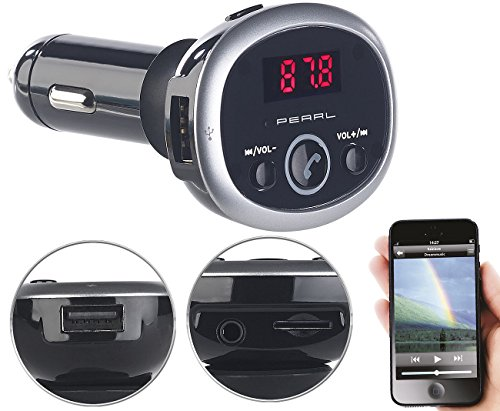 auvisio Kfz Transmitter: MP3-FM-Transmitter mit Bluetooth, Freisprecher, USB-Port, für 12/24 V (Kfz Transmitter Bluetooth)