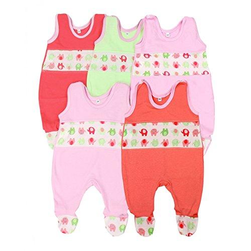 Babystrampler Jungen Strampler Baby Strampelanzug Mädchen 100% Baumwolle im 5er Pack , Farbe: Mädchen, Größe: 56