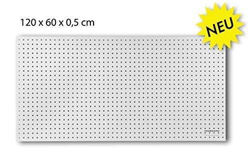 Werkzeugwand aus Holz - 120 x 60 x 0,5 cm - Lochung Ø7 mm - MDF weiß lackiert -