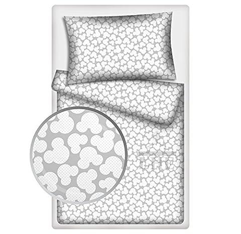 LHE 2 Piece Baby Bedding PRAM BASSINET CRADLE Duvet Set Super Soft 100% COTTON Oeko-Tex tested GREY PINK YELLOW GREEN ... (08- WHITE MICKEY ON