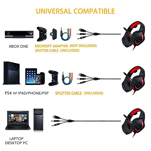 Auriculares para juegos de PC  MillSO K1 Auriculares para juegos Over Ear Gaming para PS4  Xbox one  Mac con micrófono ajustable y adaptador de cable Y Audio Jack de 3 5 mm Y   Rojo