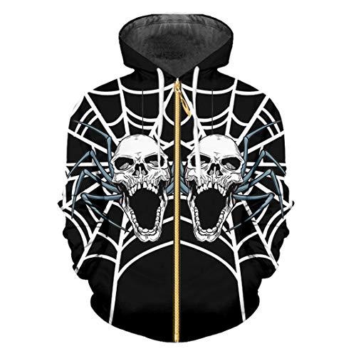HensGalis Man Halloween 3D gedruckte Spinnennetz und Schädel Trend Persönlichkeit Zip Hoodies Spider Web Skulls 4XL