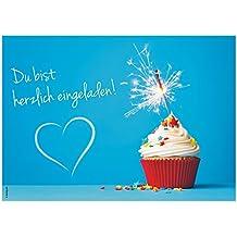 """12 Einladungskarten """"Muffin Cupcake"""" Geburtstag Kindergeburtstag Wunderkerze, Glitzer, Glitter, Herz / Geburtstagseinladungen Einladungen Kinder Jungen Mädchen Einladungstext Vorlagen Karten Set"""