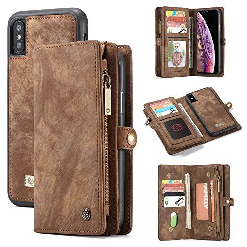 iPhone XS MAX Hülle, Vaxiuja iPhone XS MAX Brieftasche-Etui aus Leder, 2 in 1 Leder Premium Leder Faltbarer Flip-Portemonnaie-Schutzhülle Kartensteckplätze Magnetischer Verschluss Abnehmbares