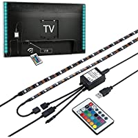 ZUOAO LED Strisce Illuminazione Retro TV Kit - 2x 50cm RGB Bias Illuminazione Multicolor Impermeabile, 5V Flessibile Striscia LED con 24 Tasti del Telecomando, Led Retro TV Bias Light