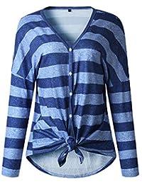 b7b597c45649a ESHOO Femmes Tops Haut Hiver Blouse Manche Longue Chic Slim Automne Tunique  Sweater Femme T-