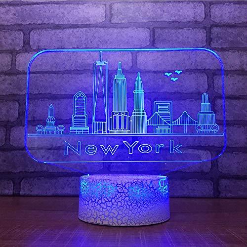 ganjue 3D USB 7 Cambio de color Botón táctil Lámpara de mesa de escritorio Edificios de la ciudad de Nueva York Modelado Atmósfera Led Luz nocturna Regalos