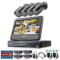 SANNCE Videoüberwachung Überwachungskamera 10 Zoll Display 8CH 720P DVR Recorder Überwachungssystem mit 4 Kameras 720P für innen und außen Bereich ohne Festplatte