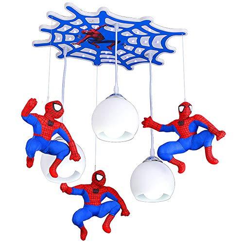 Plafonnier LED encastré, protection des yeux garçon chambre d'enfants lustre dessin animé Spiderman lampe suspendue pour salon chambre chambre d'enfants (E27,58 * 40 * 80CM)-with remote control pac