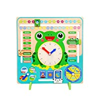 rebirthesame Kids All About Today Calendar Board - My First Clock PreSchool Educational & Learning Wooden Toy | Graduation Gifts For Toddlers Boys and Girls 3 Year Olds +