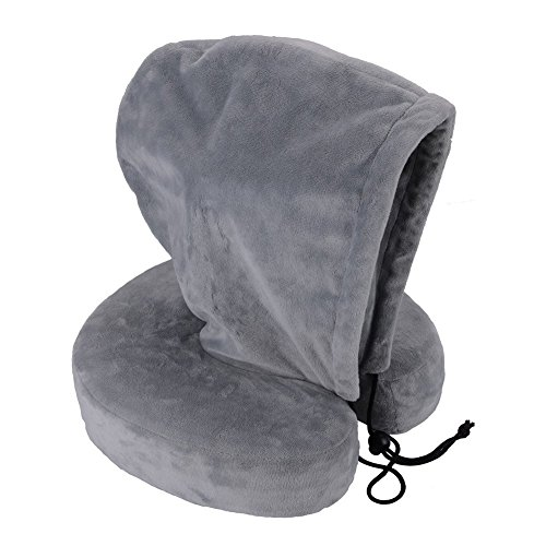 sonyabecca Reise-Nackenkissen mit Memory Foam Head Kinn Hals Support mit einer Mütze (Reißverschluss Demontage) (Kordelzug Hals Kapuze)