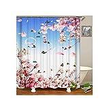 Bishilin Badvorhang Anti-Schimmel Frühjahrsszene Blumen 3D Lustiger Duschvorhang Polyester-Stoff 150x200