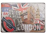 SuperStudio Lo + deModa hcn362 - 87 - Tableau en métal imprimé Vintage All London, 20 x 30 cm, Multicolore