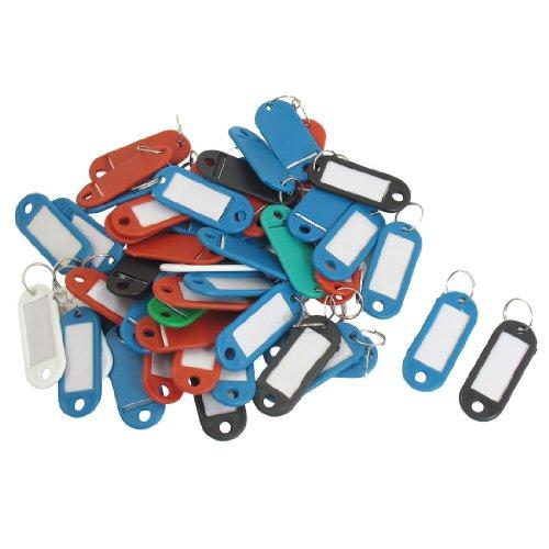 Preisvergleich Produktbild sourcingmap® Bunte Mini Plastiketui ID wichtigen Labels Tags Keyring Schlüsselanhänger 50 St