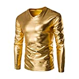 SOMESUN Langarmshirts Herren Strickpullover Metallisch Glänzend Nass Aussehen Lange Ärmel T-Shirt oben Slim Fit V-Ausschnitt Bluse Metallic Shiny Wet Look Long Sleeve T-shirt Top