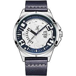 Alienwork Montre Homme Bracelet Cuir Bleu Analogique Quartz Unisex Calendrier Date Argent Blanc Imperméable XXL Oversized