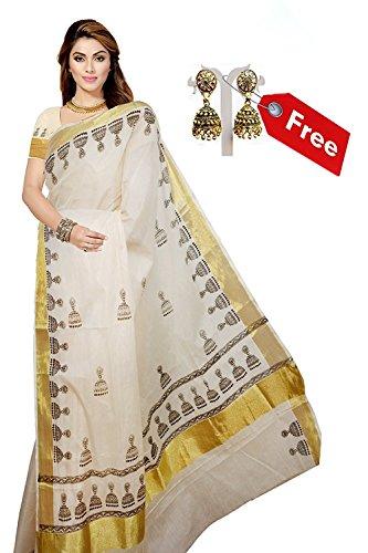 ARS Cotton Saree With Blouse Piece & Jhumki Earrings (Ksvjimikkisaree001_Cream Rose_Free Size)