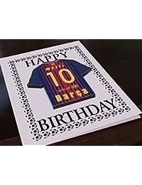 LA ESPAÑOLA LIGA-DESIGN, CAMISETA DE FÚTBOL DE IMÁN DE CUMPLEAÑOS, PERSONALIZADO, CADA NOMBRE Y NÚMERO, CADA UNO DE LOS ColourES!, Spanish-Primera-Liga, color  - - Barcelona CF La Liga Fridge Magnet Birthday Card, tamaño A5 Fridge Magnet Birthday Card