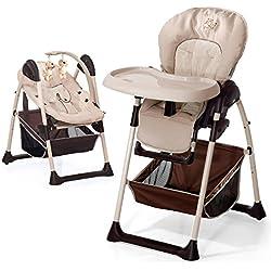 Hauck 665107 Sit'n Relax - Trona con bandeja y cesto, convertible en mecedora para bebé, color beige