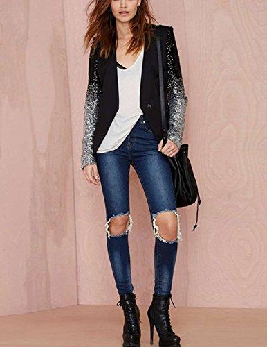 M-Queen Damen Blazer mit Paillette Farbverläufen Einreihig Business Anzug Jacke Outwear Oberteil Top Schwarz