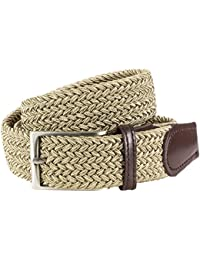 LINDENMANN Mens Braided Textile belt/ Mens Belt, textile and leather XL, with gift box, beige