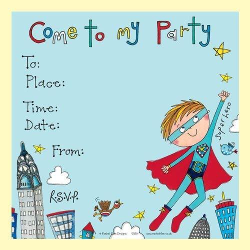 ellt Von 8 Kinder-Party-Einladungen - Superhelden Lädt - Super Hero Invites ()