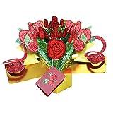 ECMQS Grußkarten Handmade Geburtstag Hochzeitseinladung 3D Pop Up Karte Rose Blume