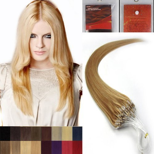 45.7cm Lisse Boucles Micro Anneau Perles Pointu Cheveux Humains Extensions 100 s 27 blond foncé Femmes beauté Hairsalon Style Motif 0,5g/s