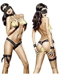 LQQGXL Cadena de prisioneros diversión perspectiva de la ropa interior de tres puntos bondage tentación pijamas sm traje pasión lencería espectáculo negro sexy ropa interior Ropa interior sexy