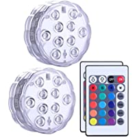 Submersible LED Lights set of 2, Alilimall Remote Controlled Multi Color Changing Waterproof Battery Powered Mood Night Light for Vase Base, Floral, Aquarium, Pond, Wedding, Party