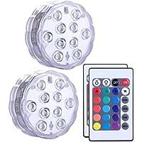 Luces LED Multicolor resistentes al agua con mando a distancia, Alilimall Luces a Pilas de Colores y Sumergibles Bajo el Agua, para Bañera, Ducha, Acuario, fuente, piscina, fiesta, centros de flores