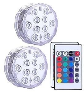 LED sommergibili con telecomando 2 pezzi, Alilimall impermeabile lampada multi colori per piscine, vasche idromassaggio, Vaso Base, floreale, Acquario, Stagno, Matrimonio, Party, illuminazione a LED decorazione