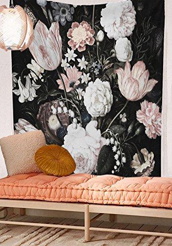 QCWN Blumenmuster Tapisserie Palm Tree Leaf Pflanzen Zeichen Print schönen Blumen Wandbehang Home Decor Kunst für Schlafzimmer Wohnzimmer Wohnheim, Polyester, 1, 78Wx59L