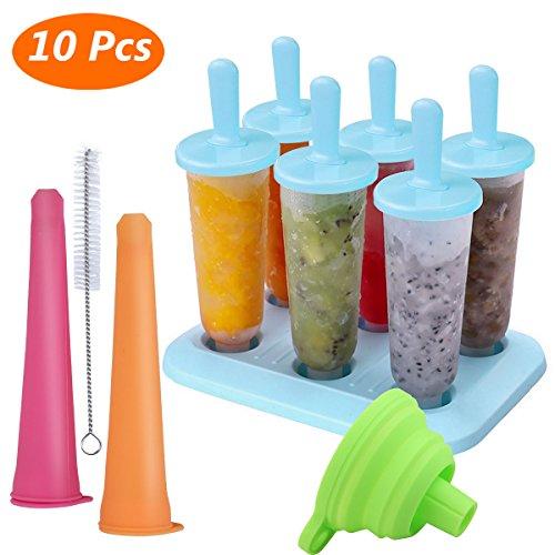 Molde para Helados, Estela Moldes de Paletas BPA y Reutilizable Moldes de Polos Frozen Yogurt Helado Pop Mold Popsicle para Niños Lolly Maker Moldes