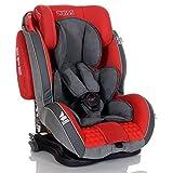 LCP Kids Auto Kindersitz GT 9-36 kg Isofix - Liegefunktion - Verstellbare Kopfstütze Gr. 1 2 3; Rot Grau