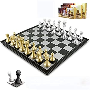 Internationales Schachspiel Magnetic Chess Checkers Set Tragbare Golden Silver Folding Schach Brettspiel Perfekte Lernspielzeug for Kinder und Erwachsene Standard-Schachspiel