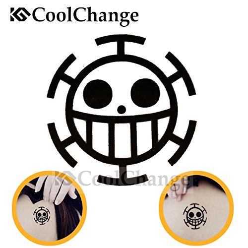 Kostüm Of Hearts Ace (CoolChange One Piece temporärer Tattoo Aufkleber, Motiv: Jolly Roger Trafalgar)