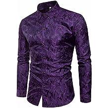 Rawdah Tencel Chemise à Manches Longues Mode Oblique Shirt Patte de  Boutonnage Impression Slim à Manches