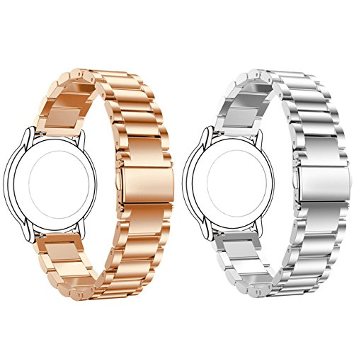 ECSEM Replacement 2pcs Premium Solid Stainless Steel Watch Bands Metal Straps Bracelets - Choices of Color & Width (22mm) -3beads (Rose Gold+Silver) (Pebble Steel Metal Watch Band)
